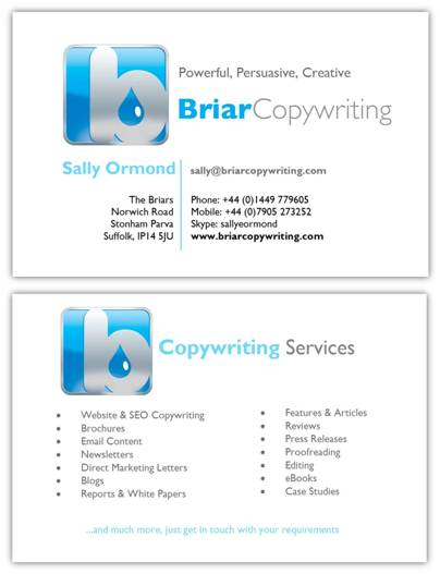 copywriter business card