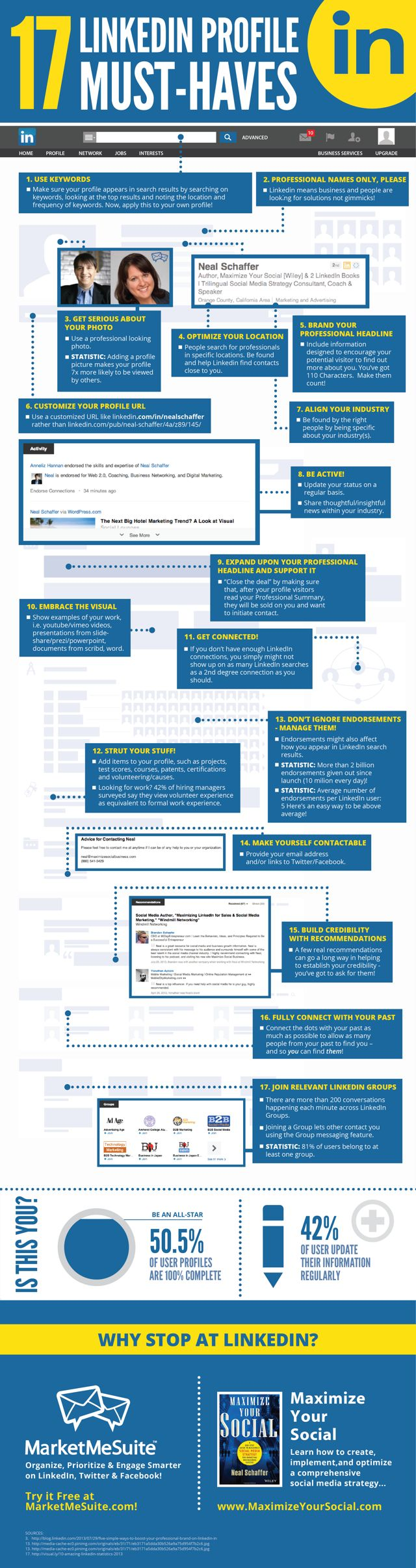 LinkedIn 17 must-haves infographic